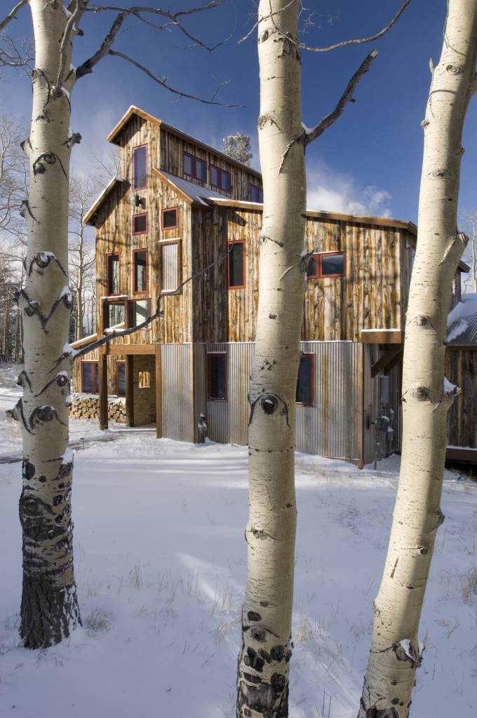 Mining House Exterior with Aspens and Snow