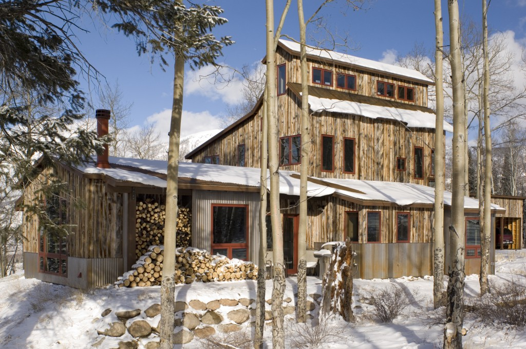 Mining House Exterior with Snow