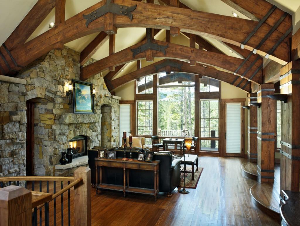 French Chateau Breckenridge Custom Home Great Room