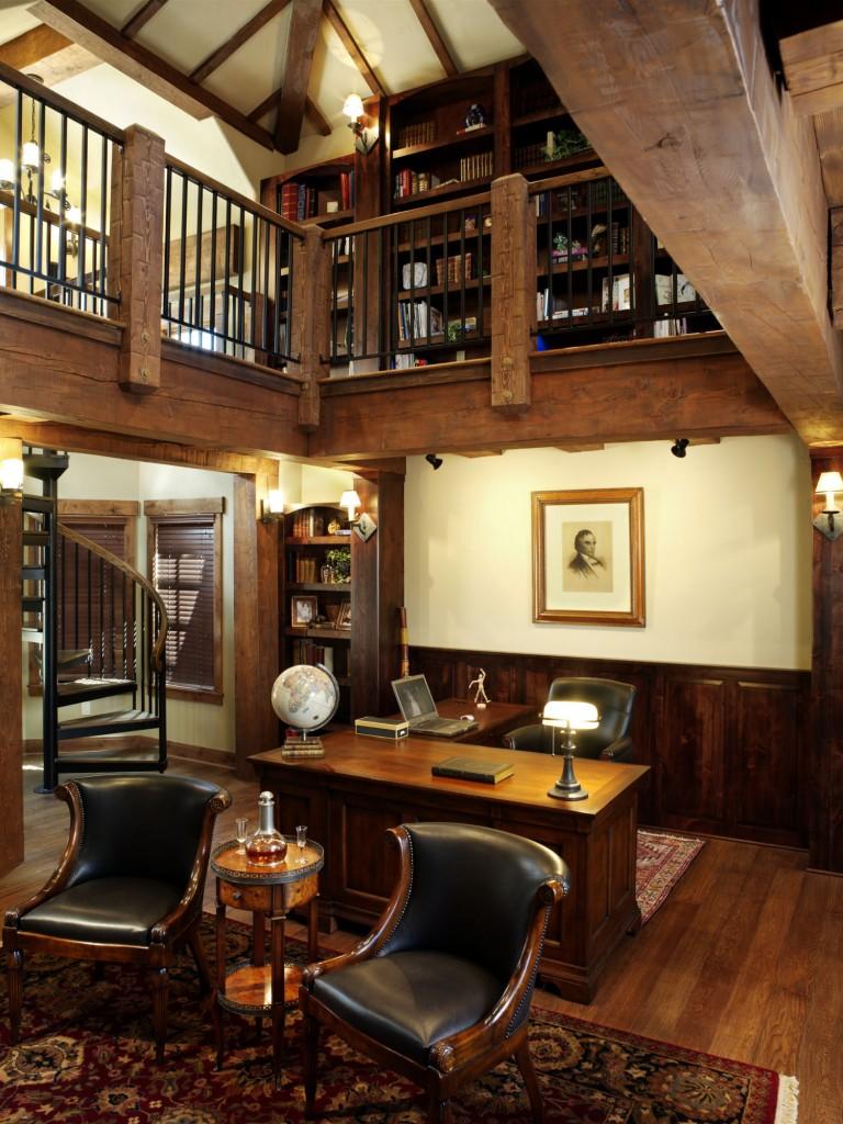 French Chateau Breckenridge Custom Home Library