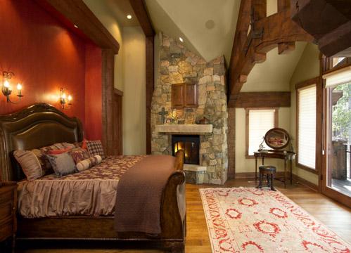French Chateau Breckenridge Custom Home Master Bedroom