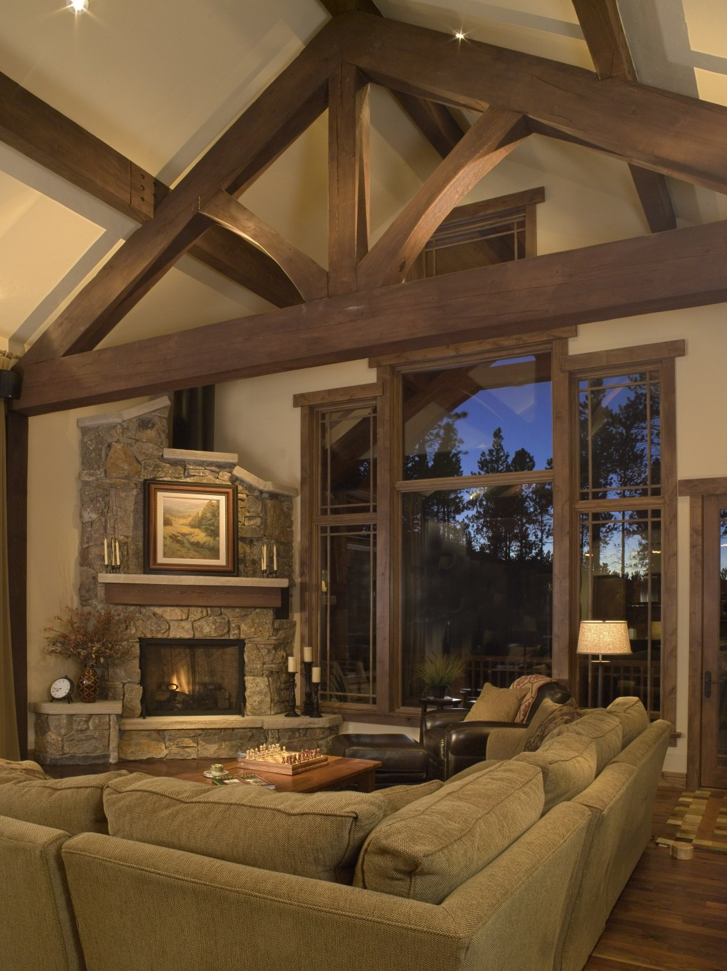 Craftsman cottage two allen guerra architects for Living room with corner fireplace
