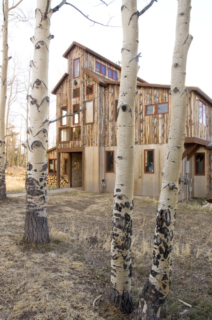 Mining House Exterior with Aspens