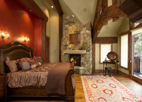 French Chateau Breckenridge Custom Home Master Bedroom